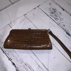 Burberry Brown Alligator Crocodile Wristlet Clutch